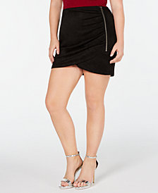 Soprano Trendy Plus Size Faux-Suede Mini Skirt