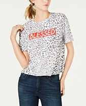 4c654ab48fac3b Rebellious One Juniors  Leopard Blessed Graphic T-Shirt