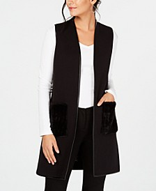 Petite Faux-Fur-Pocket Sweater Vest, Created for Macy's