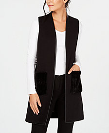 JM Collection Petite Faux-Fur-Pocket Sweater Vest, Created for Macy's