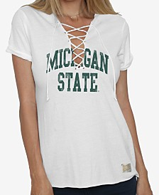 Retro Brand Women's Michigan State Spartans Lace Up V-Neck T-Shirt