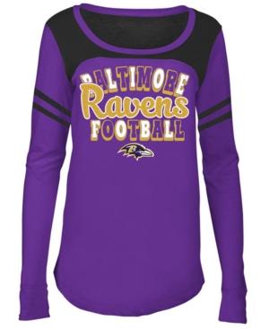 Image of 5th & Ocean Baltimore Ravens Sleeve Stripe Long Sleeve T-Shirt, Girls (4-16)