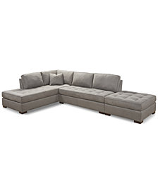 "Dartford 142"" 3-Pc. Fabric Sectional"