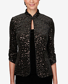 Alex Evenings Petite Sequined Jacket & Velvet Top
