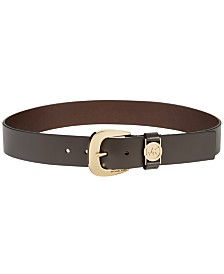 MICHAEL Michael Kors Leather Plus-Size Belt with MK Cutout Logo Disc Belt