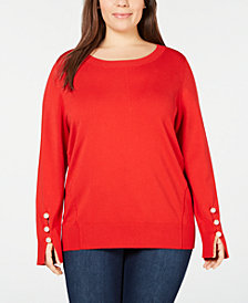 525 America Plus Size Faux-Pearl Sweater, Created for Macy's