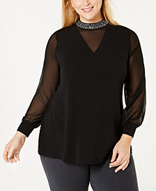 Belldini Black Label Plus Size Embellished Sheer Overlay Tunic