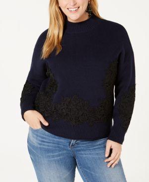 BELLDINI Black Label Plus Size Lace-Applique Sweater in Navy/Black