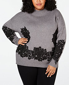 Belldini Black Label Plus Size Lace-Appliqué Sweater