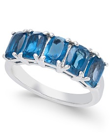 Blue Topaz Five Stone Ring (3-3/4 ct. t.w.) in Sterling Silver