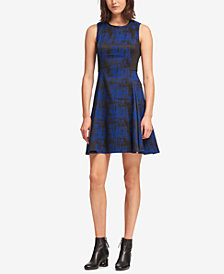 DKNY Faux-Leather-Trim Fit & Flare Dress, Created for Macy's