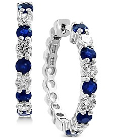EFFY® Sapphire (1-1/3 ct. t.w.) & Diamond (3/4 ct. t.w.) Hoop Earrings in 14k White Gold