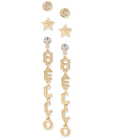 BCBGeneration Gold-Tone 3-Pc. Set Crystal Stud & Hello Drop Earrings