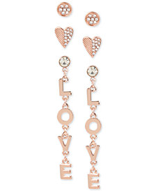 BCBGeneration Rose Gold-Tone 3-Pc. Set Crystal Love Stud & Drop Earrings