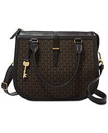 Fossil Ryder Jacquard Signature Leather Satchel