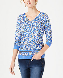 Charter Club Border-Print V-Neck Top, Created for Macy's