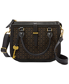 Fossil Ryder Jacquard Signature Small Leather Satchel