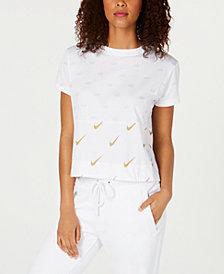 Nike Sportswear Cotton Metallic Logo-Print Cropped Top