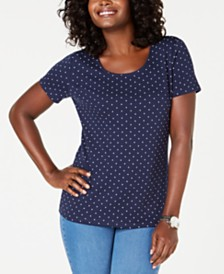 Karen Scott Petite Dot-Print Top, Created for Macy's