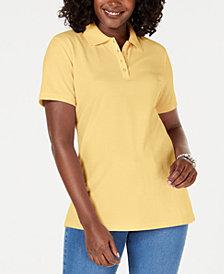 Karen Scott Cotton Piqué Polo Top, Created for Macy's