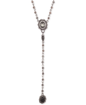 "Marchesa HEMATITE-TONE STONE & CRYSTAL LARIAT NECKLACE, 16"" + 3"" EXTENDER"