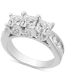 Diamond Princess Three Stone Engagement Ring (3 ct. t.w.) in 14k White Gold