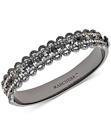 Marchesa Hematite-Tone Stone & Crystal Scalloped Bangle Bracelet