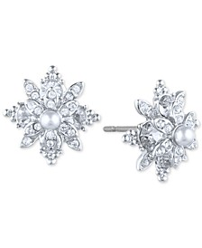 Pavé & Imitation Pearl Flower Stud Earrings