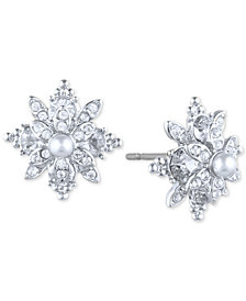 Marchesa Pavé & Imitation Pearl Flower Stud Earrings