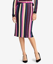 RACHEL Rachel Roy Metallic Stripe Sweater Skirt