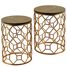 Set of 2 Dilila Round Side Table, Quick Ship