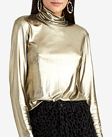RACHEL Rachel Roy Metallic Jersey Turtleneck Top
