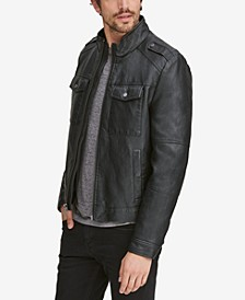 Men's Four-Pocket Faux-Leather Jacket