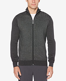 Perry Ellis Men's Textured Stripe Full-Zip Cardigan