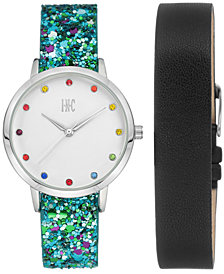 I.N.C. Women's Glitter Faux Leather Strap Watch 36mm with Interchangeable Strap Gift Set, Created for Macy's