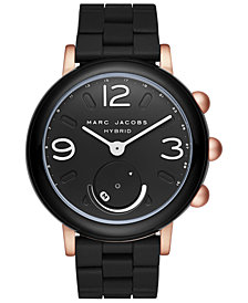Marc Jacobs Women's Riley Black Silicone Bracelet Hybrid Smart Watch 42mm