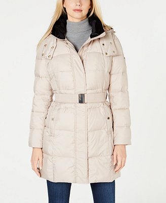 Faux Fur Lined Collar Hooded Belted Puffer Coat by Calvin Klein
