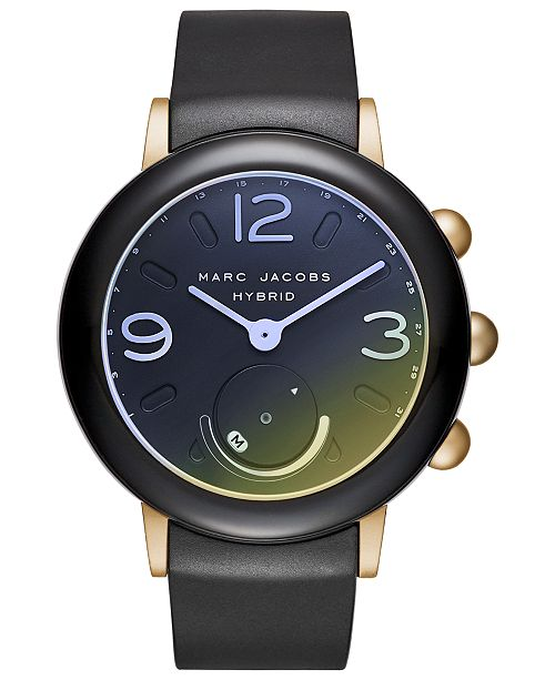 a5ce9e326879a ... Marc Jacobs Women s Riley Black Silicone Strap Hybrid Smart Watch ...