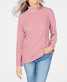 Karen Scott Petite Striped Turtleneck, Created for Macy's