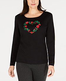 Karen Scott Holiday Heart-Wreath Top, Created for Macy's