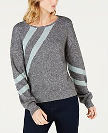 Bar III Striped Metallic Sweater, Created for Macy's