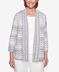 Alfred Dunner Stocking Stuffers Shawl-Collar Pointelle Cardigan