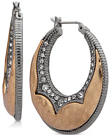 lonna & lilly Two-Tone Crystal Hoop Earrings