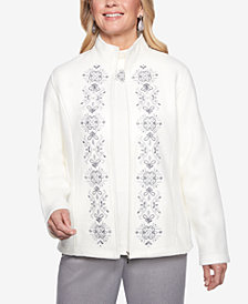 Alfred Dunner Stocking Stuffers Embroidered Zip-Up Fleece Jacket