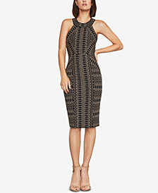 BCBGMAXAZRIA Pyramid Jacquard Sheath Dress