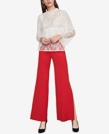 BCBGMAXAZRIA Lace Bell-Sleeve Top