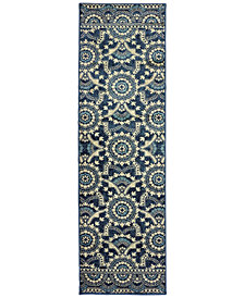 "Oriental Weavers Linden 7842A Navy/Grey 2'3"" x 7'6"" Runner Area Rug"