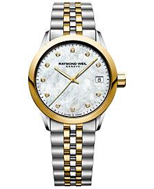 RAYMOND WEIL Women's Swiss Freelancer Diamond-Accent Two-Tone PVD Stainless Steel Bracelet Watch 34mm