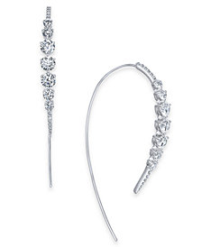 Danori Silver-Tone Crystal Curved Threader Earrings, Created for Macy's
