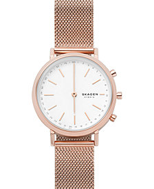 Skagen Women's Mini Hald Rose Gold-Tone Stainless Steel Mesh Bracelet Hybrid Smart Watch 34mm